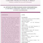 """LE ATTIVITÀ DI PREVENZIONE SONO FONDAMENTALI – LA RIFORMA LOMBARDA TARGATA """"ONE HEALTH"""" LE DEVE VALORIZZARE"""